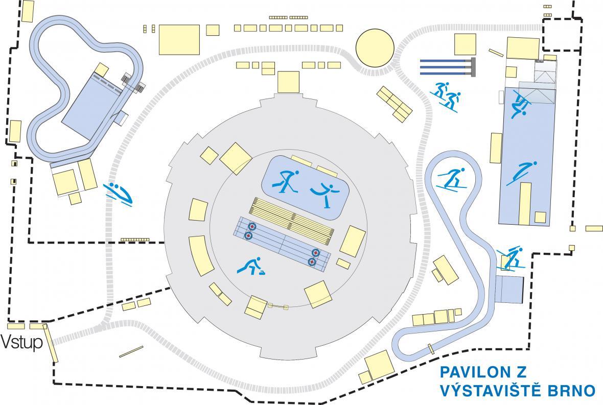 Mapa Olympijského parku Brno