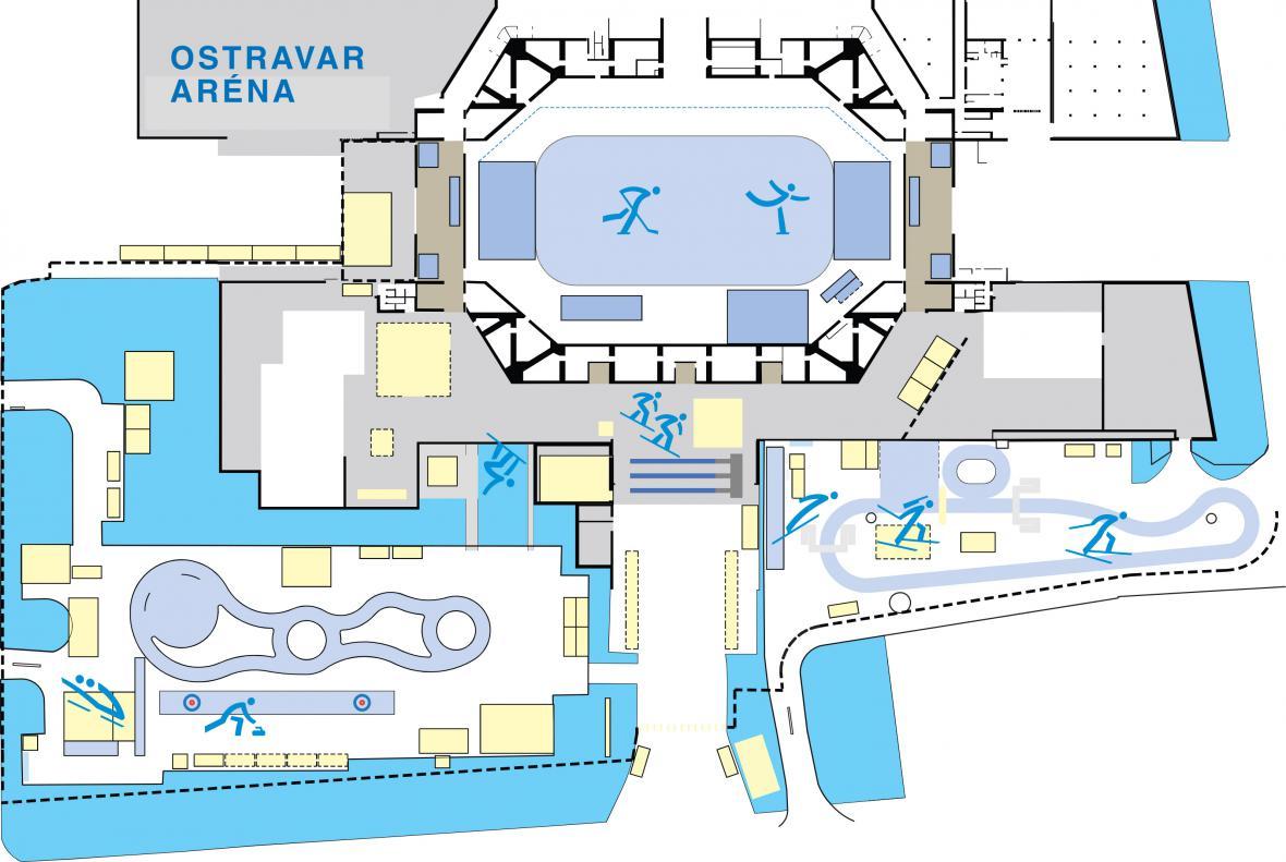 Mapa Olympijského parku Ostrava