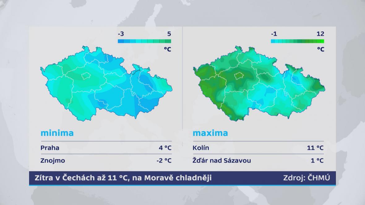 Teplotní rozdíly na území republiky