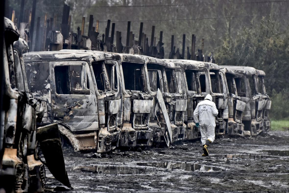 Jeden ze žhářských útoků v Chile