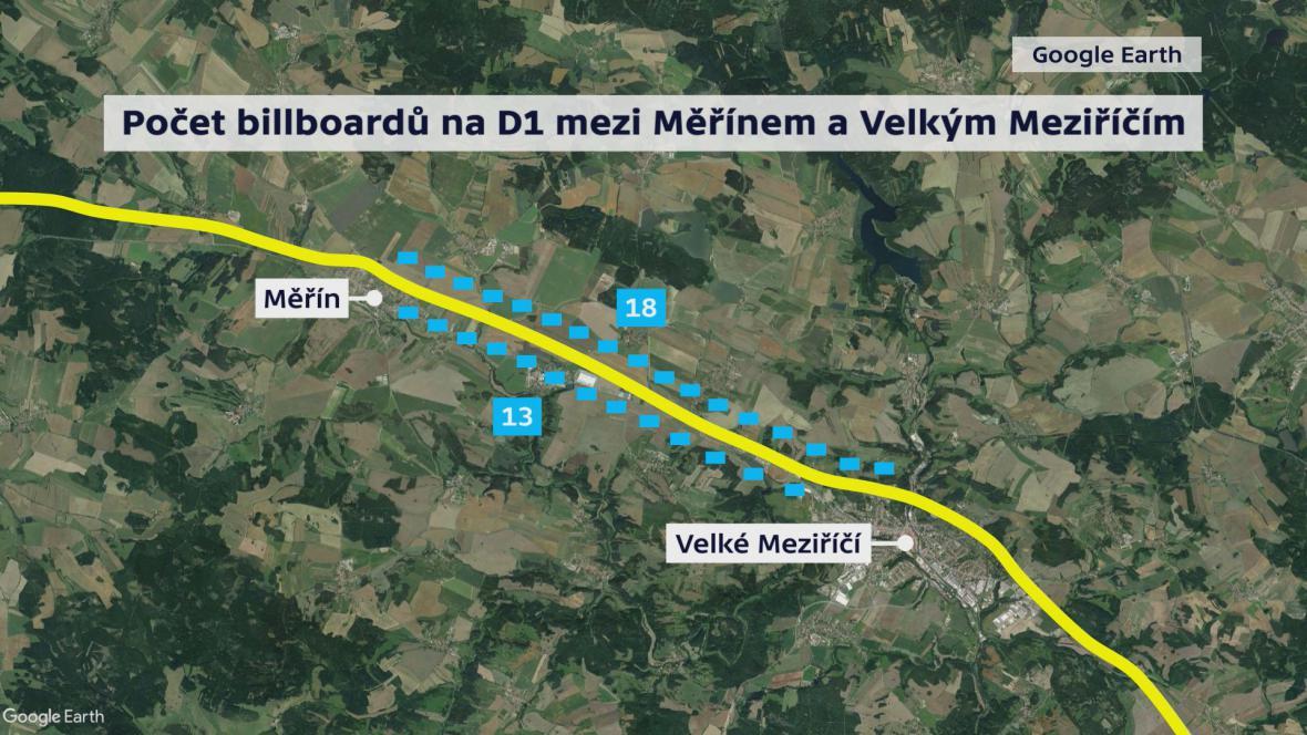 Počet billboardů v úseku dálnice D1