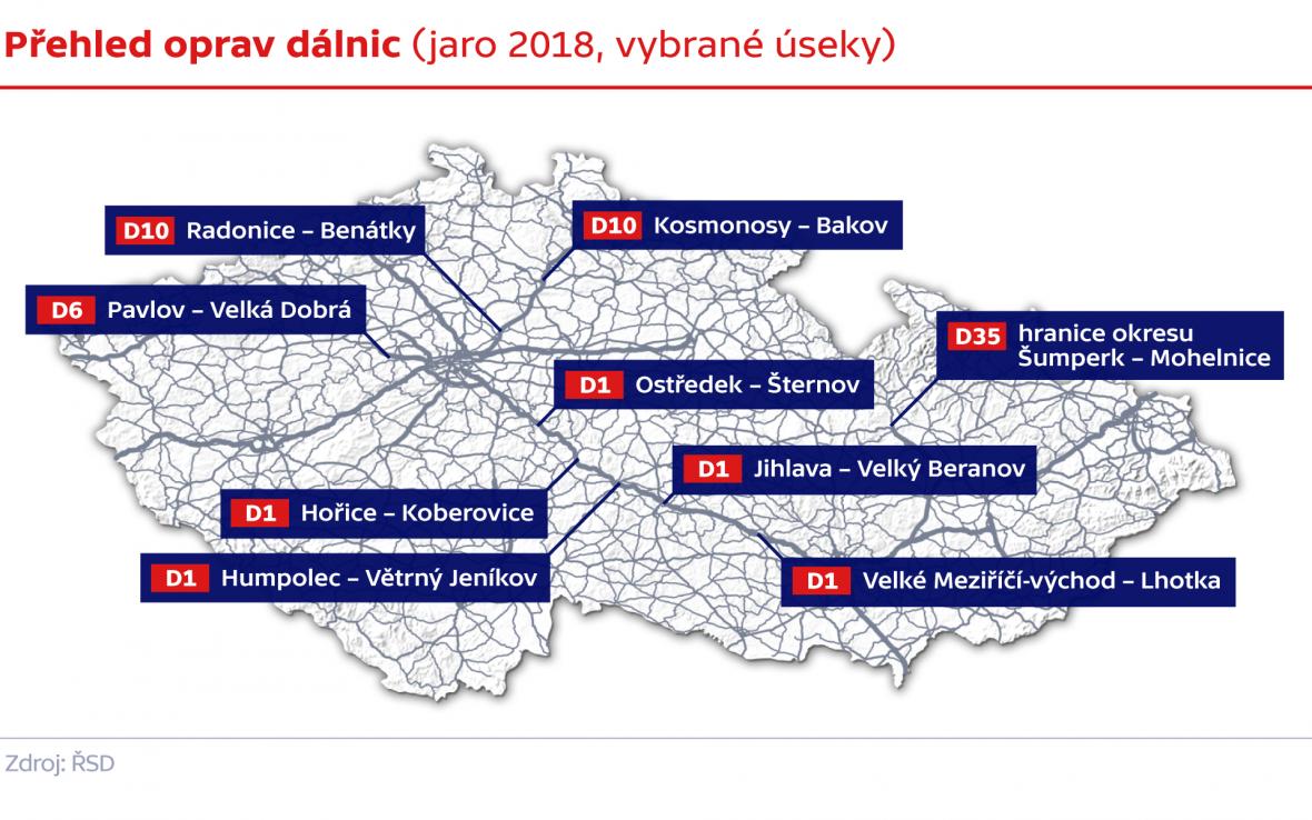 Přehled oprav dálnic (jaro 2018, vybrané úseky)