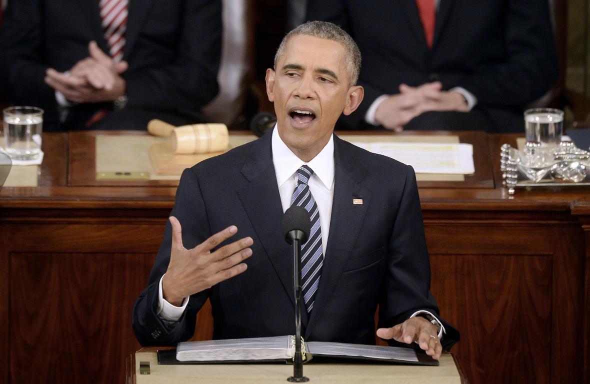 Barack Obama při projevu o stavu Unie v lednu 2016