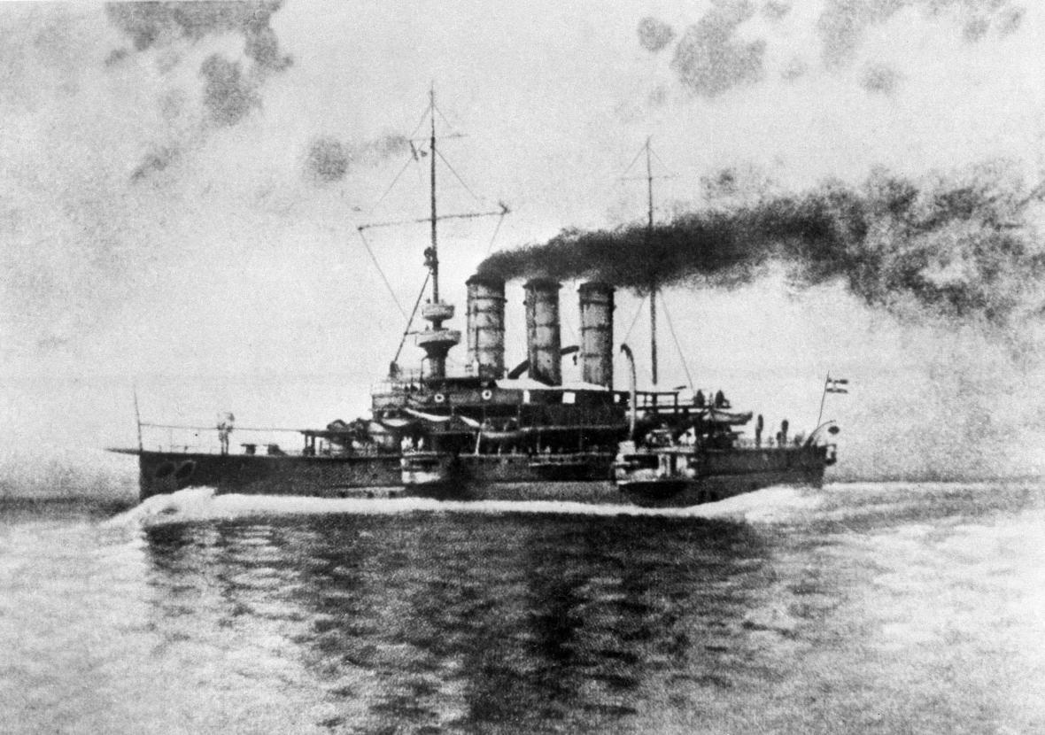 Křižník sv. Jiří, který první vztyčil rudou vlajku a zahájil v roce 1918 vzpouru