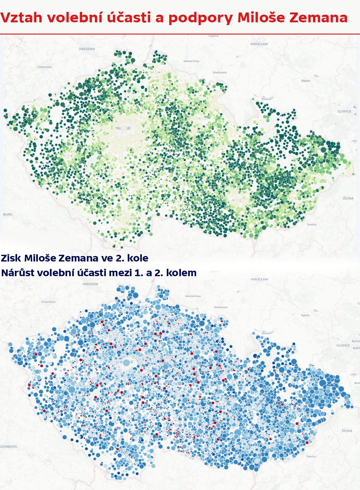 Vztah volební účasti a podpory Miloše Zemana