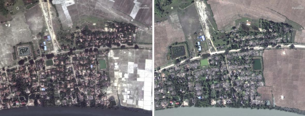 Satelitní snímky zničené myanmarské vesnice