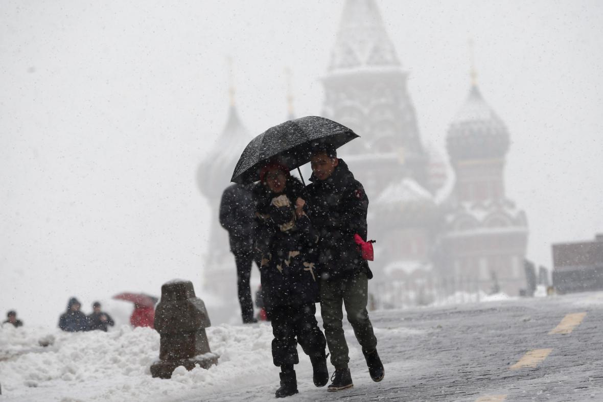 Husté sněžení v Moskvě