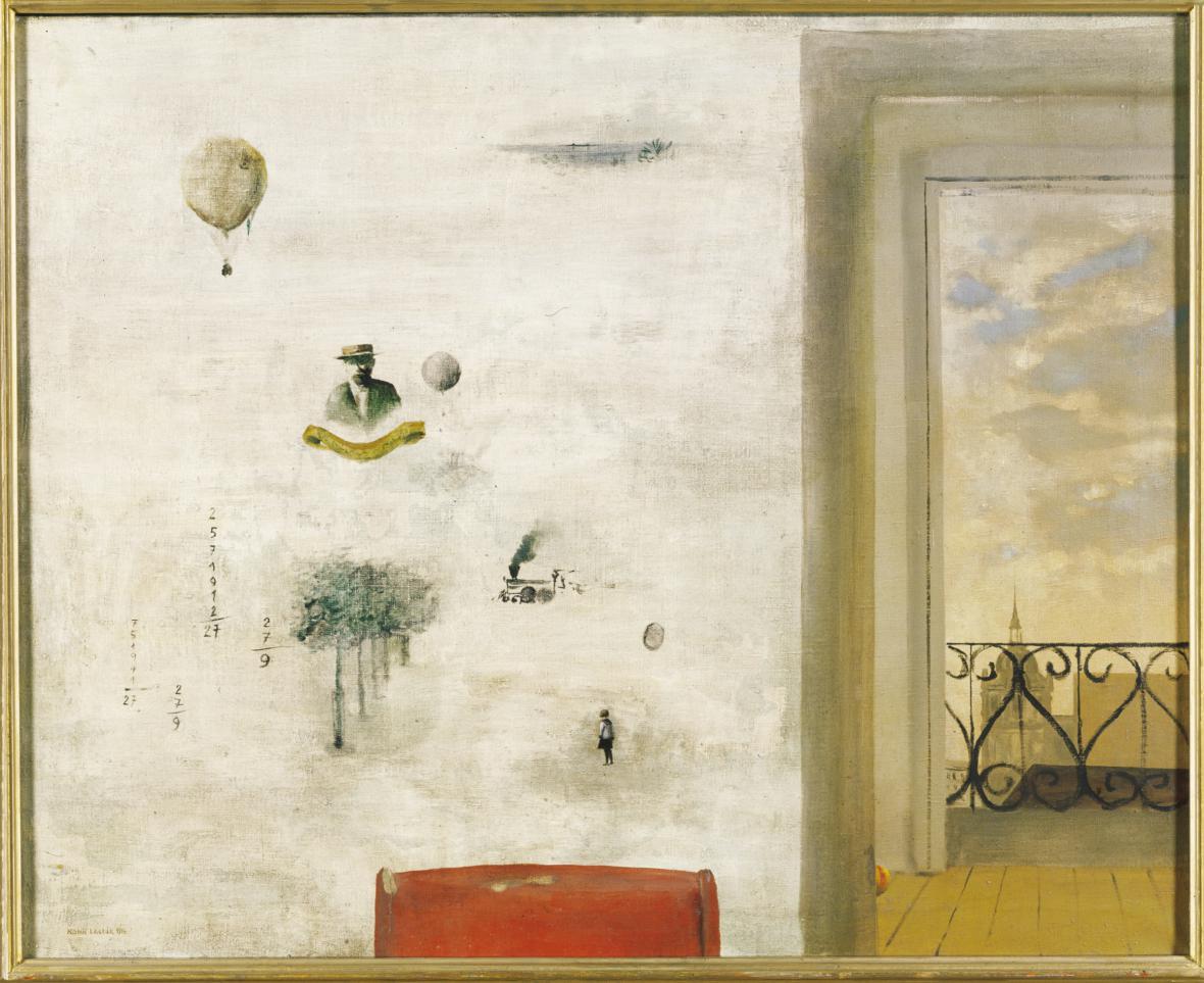 Zeď vzpomínek / Pohled z pokoje, 1954, Alšova jihočeská galerie v Hluboké nad Vltavou