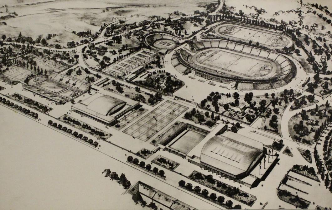 Sportoviště za Lužánkami v návrhu architekta Bohumila Fialy