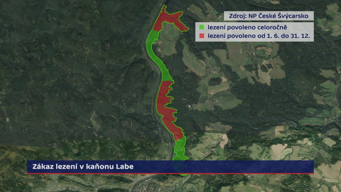 Zákaz lezení v kaňonu Labe – mapa