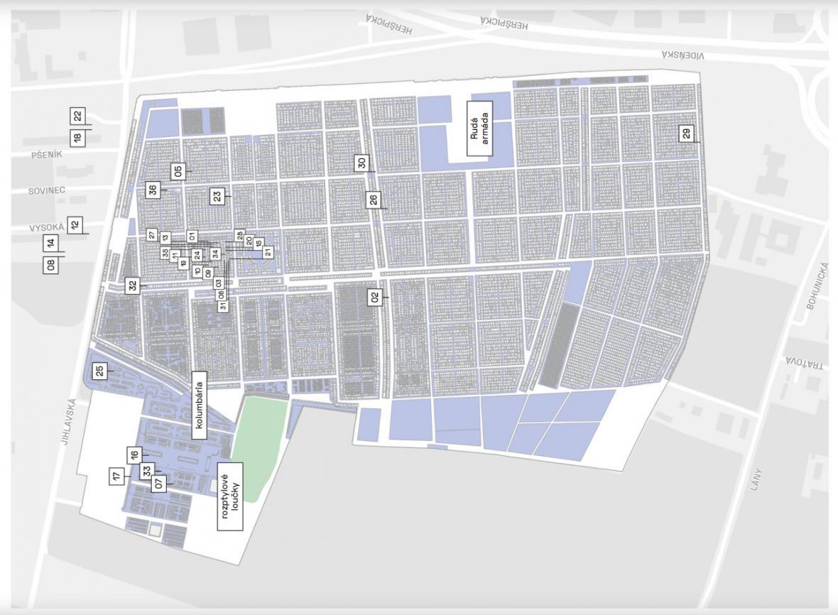 Mapa průvodce Ústředním hřbitovem