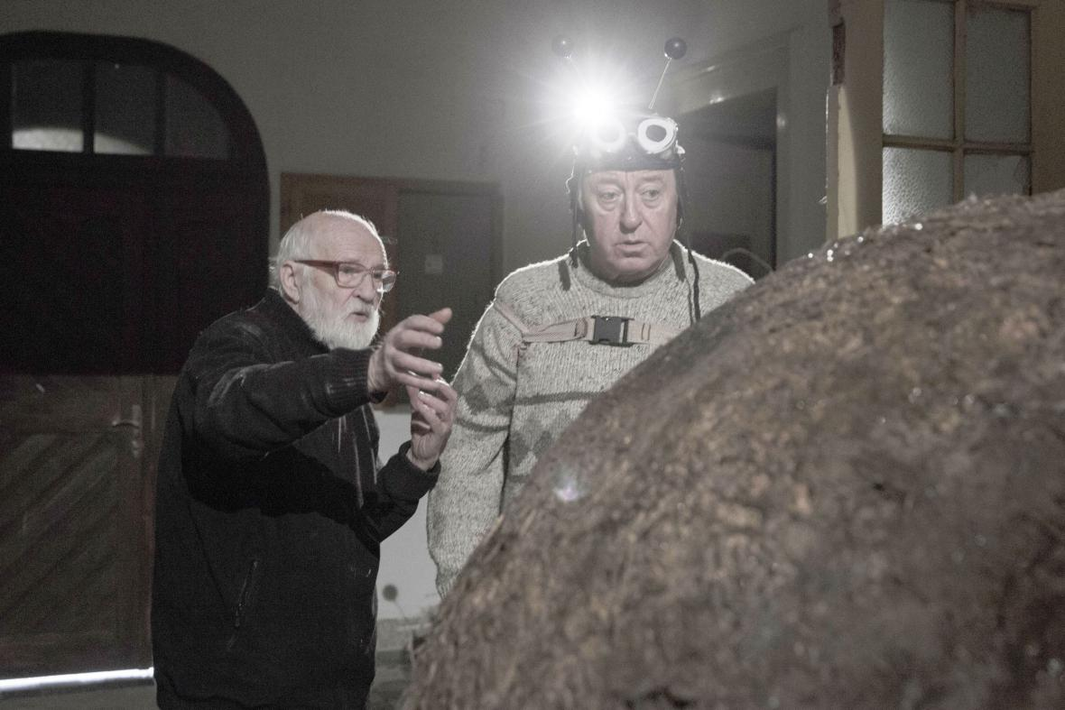 Jan Švankmajer a Jiří Lábus při natáčení