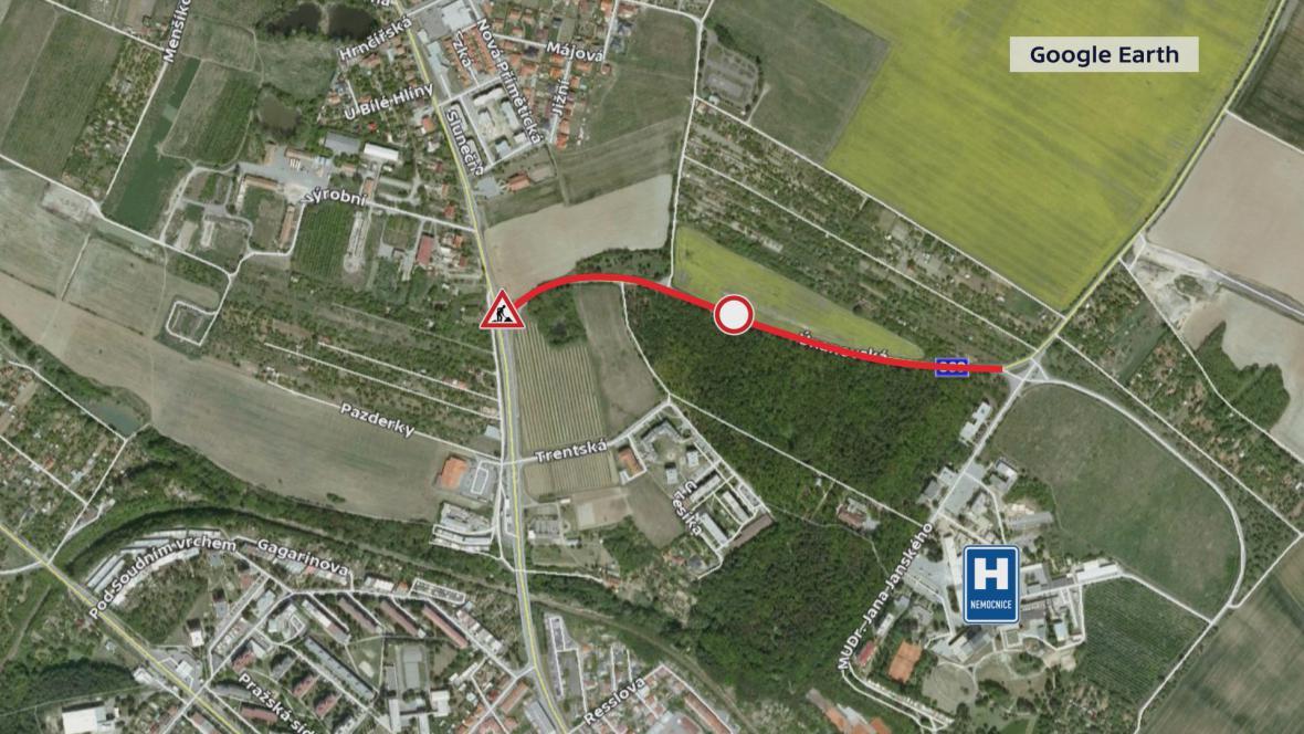 Uzavřená silnice ve Znojmě