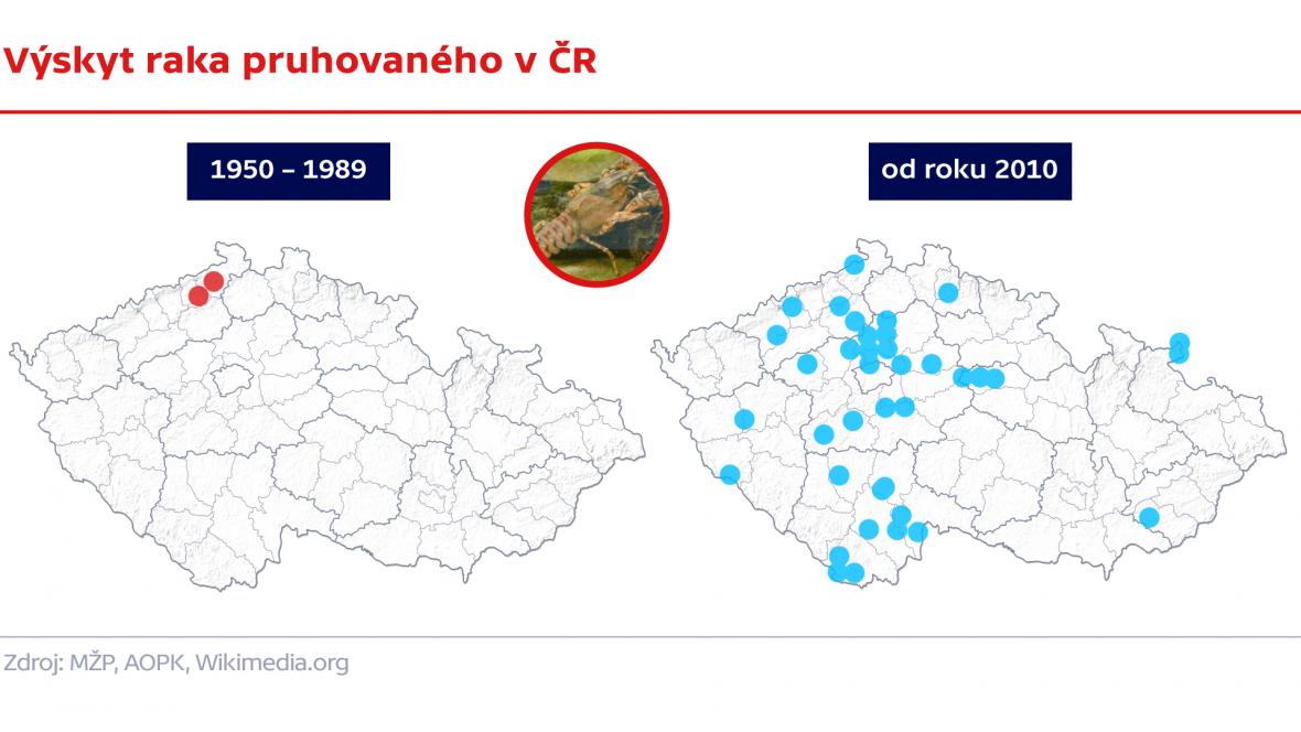 Výskyt raka pruhovaného v ČR