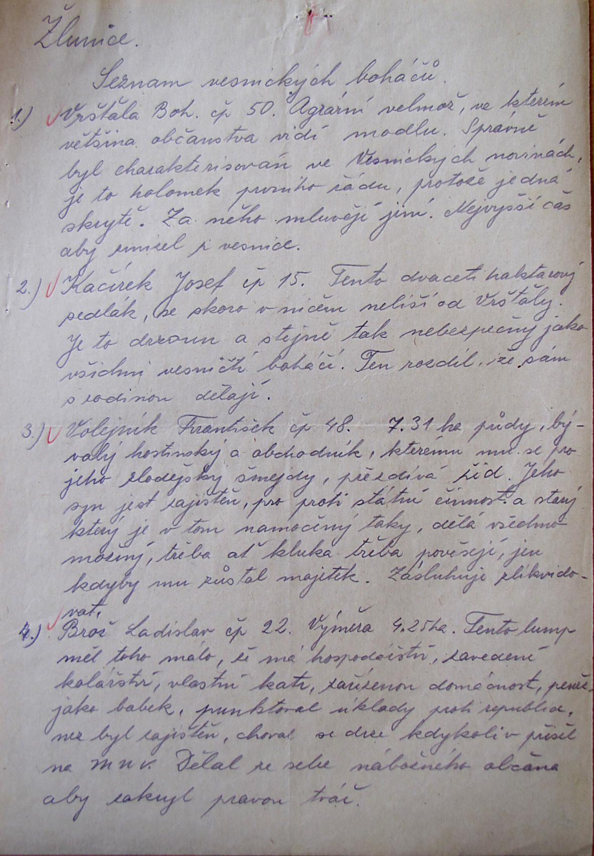 """Seznam """"vesnických boháčů"""" ve Žlunicích vypracovaný tajemníkem Ferdou"""