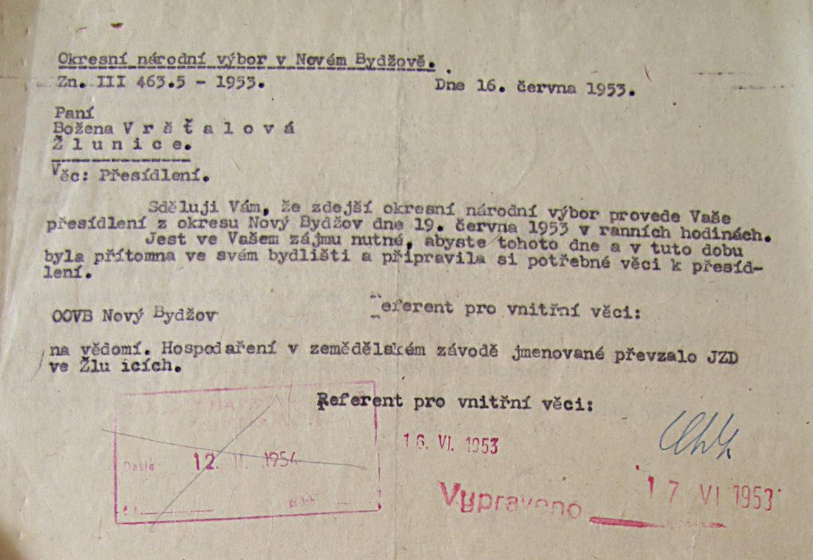 Text výměru, jímž byla B. Vršťalová vyrozuměna o vystěhování