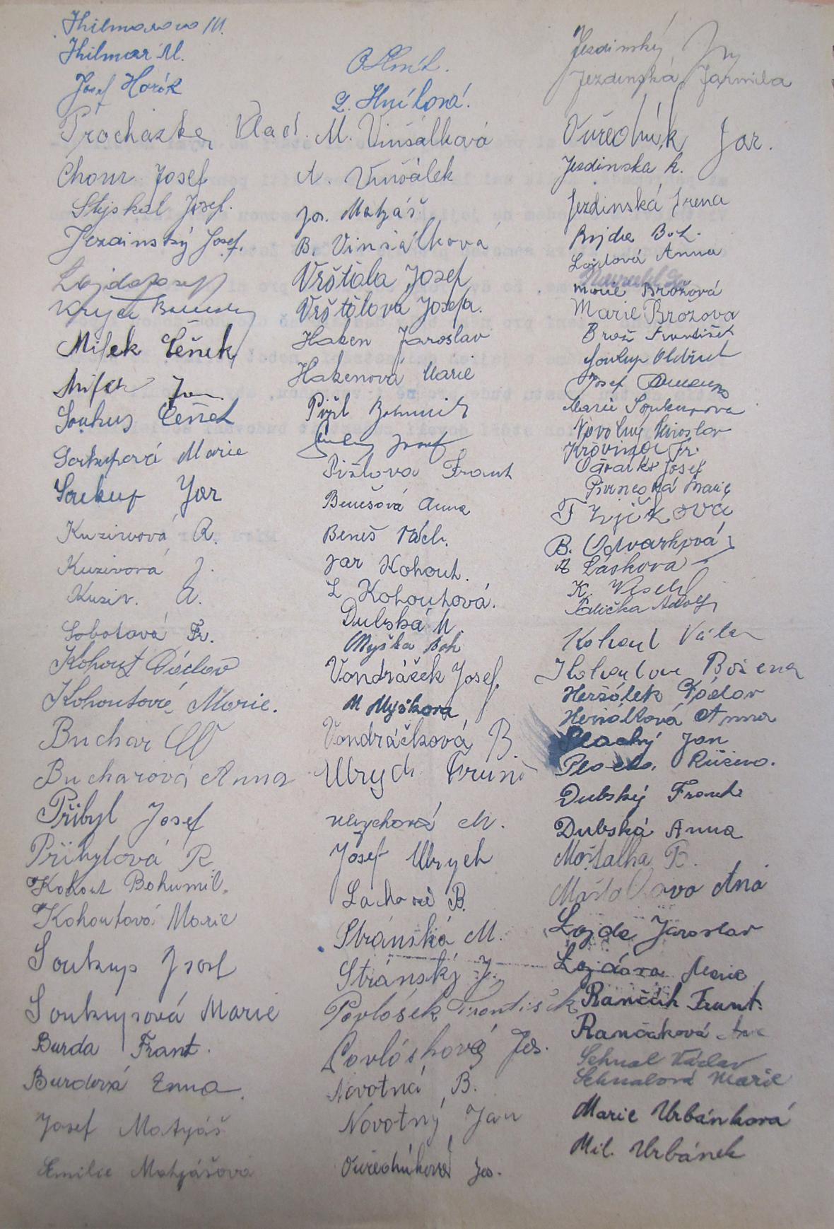 Dobrozdání, se kterým se žluničtí obyvatelé obrátili na prezidenta s žádostí o propuštění B. Vršťaly