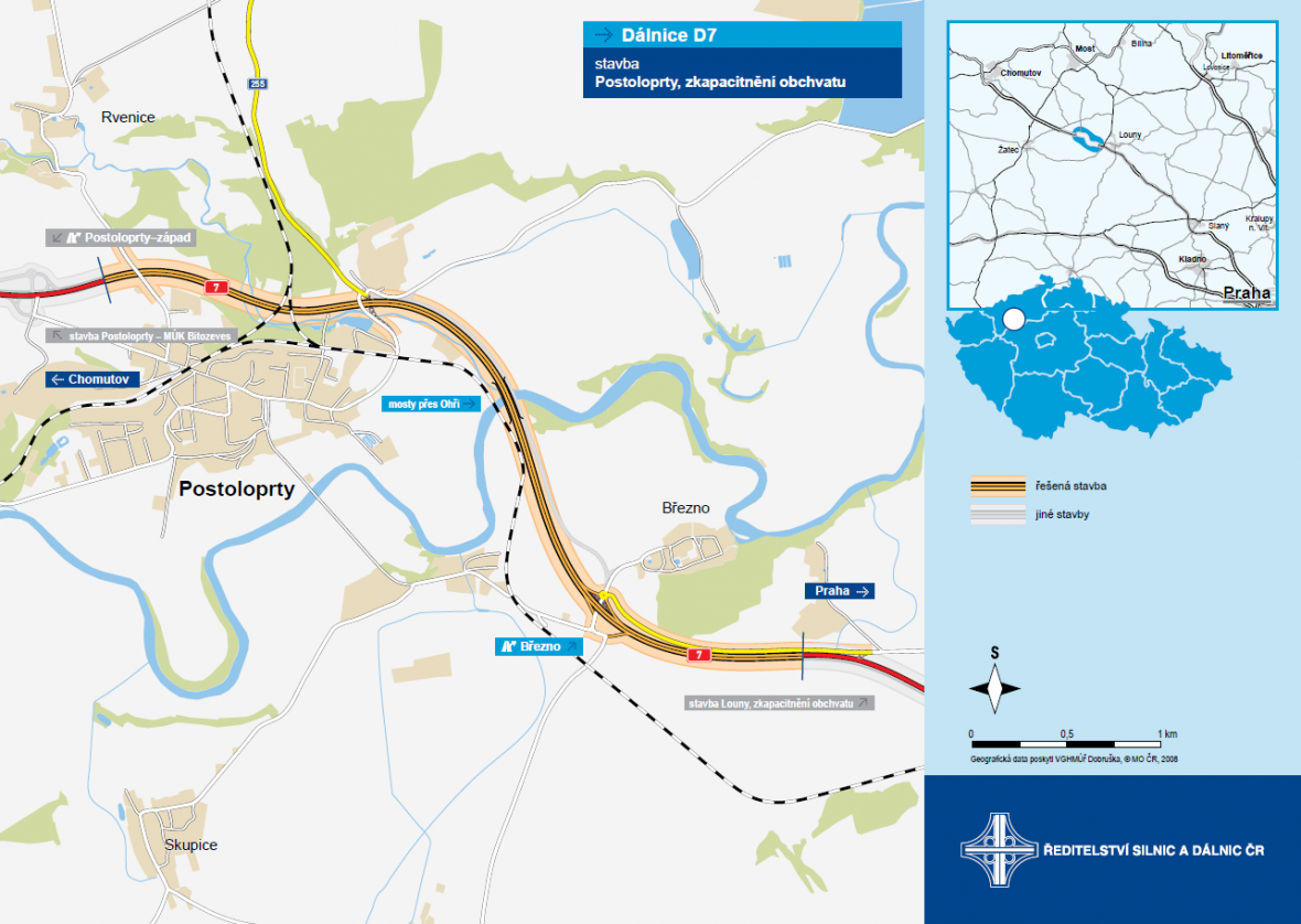 Plánovaná dálnice D7 kolem Postoloprt vznikne rozšířením současné silnice