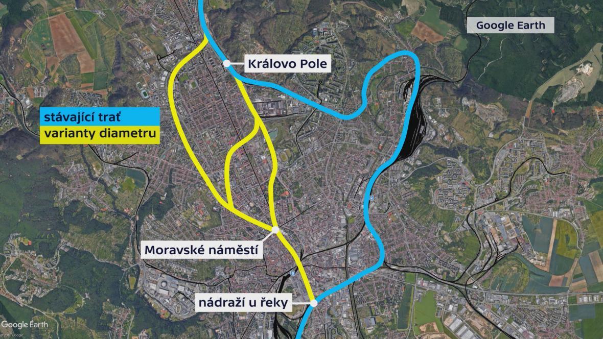 Návrh variant severojižního kolejového diametru v Brně