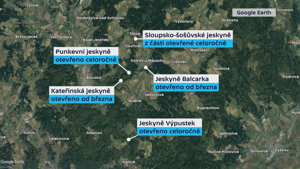 Přístupnost jeskyní v Moravském krasu