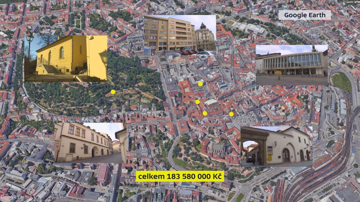 Historické domy v centru města vybrané ke směně