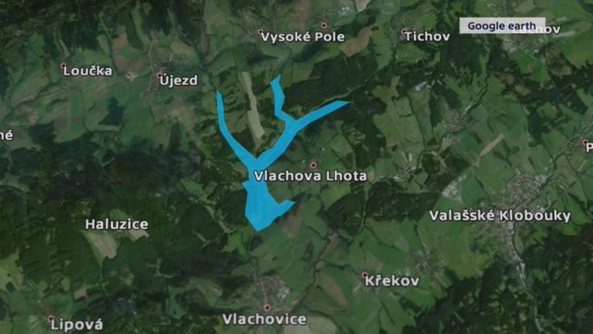 Budoucí vodní nádrž Vlachovice