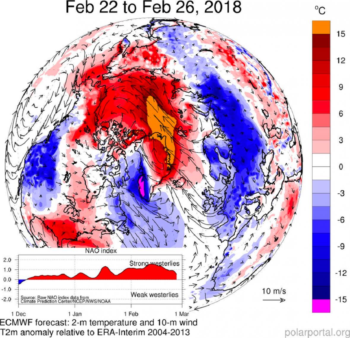 Teplota v letošním únoru
