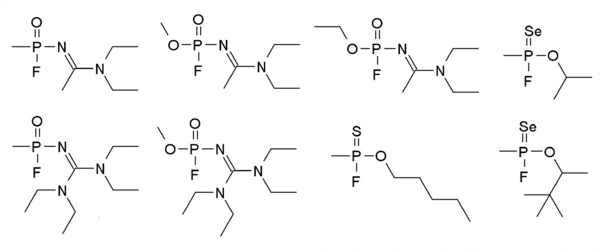Pravděpodobná struktura látky Novičok podle Vila Mirzajanova