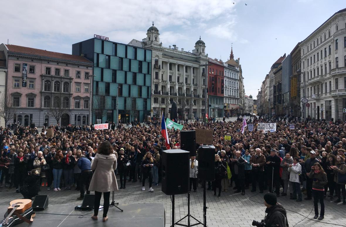 Stávkující studenti v Brně
