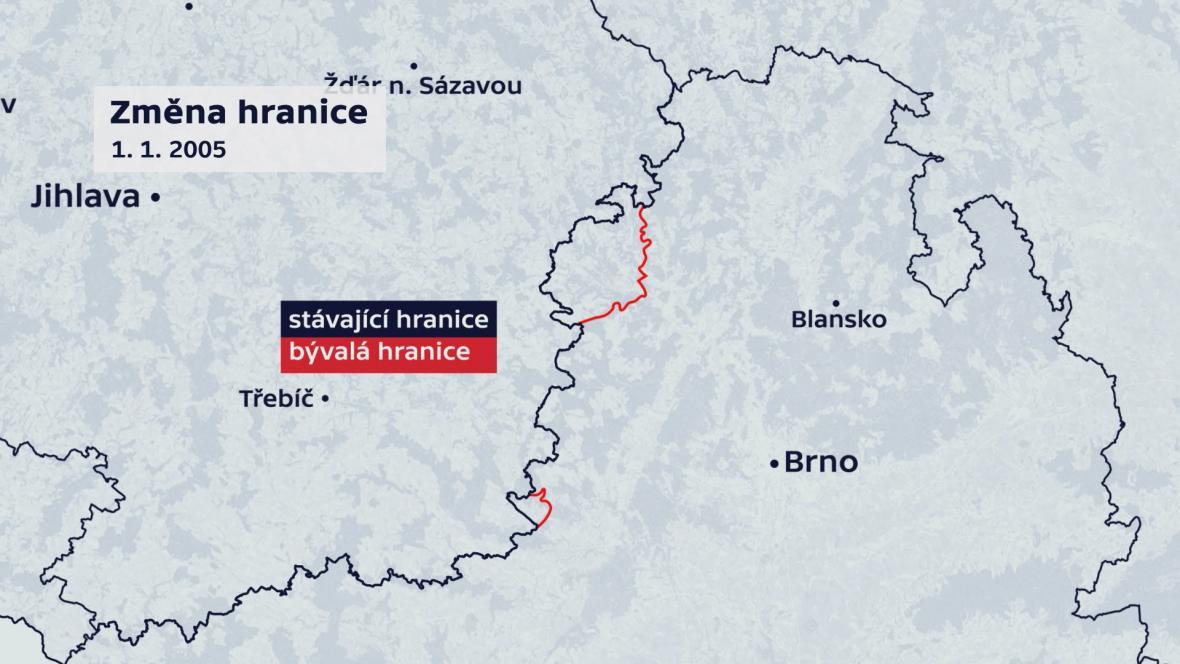 Změna hranic Jihomoravského kraje a Vysočiny v roce 2005
