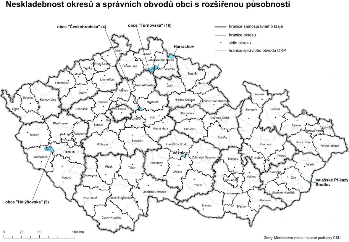 Mapa obcí navržených na změny v rámci okresů