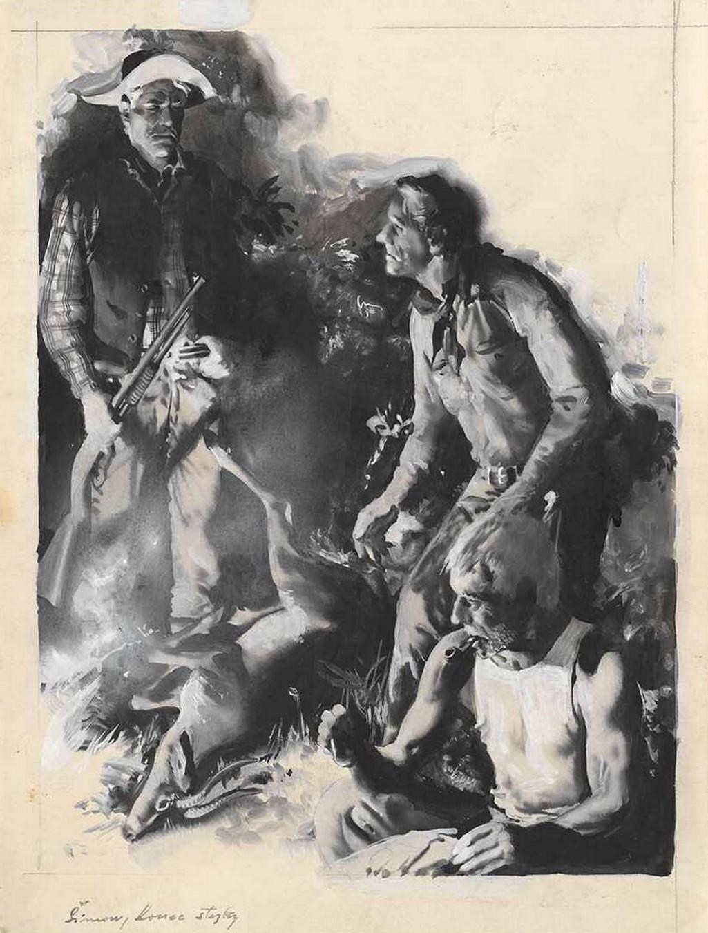Zdeněk Burian, Lovci s ulovenou laní, ilustrace k povídce K. Šimka Konec stezky, otištěno v časopise Pionýr, roč. XIV., 1966/67, č. 1