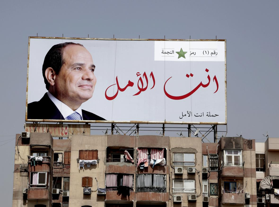 Sísího předvolební plakáty v Káhiře s nápisem