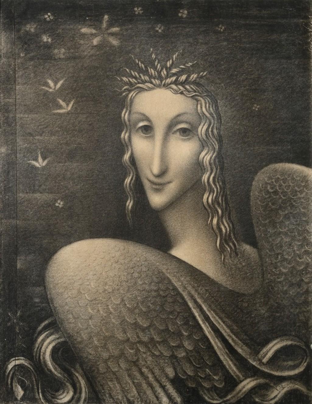 Jan Zrzavý / Anděl, 1925, uhel, papír, 61 x 47 cm, soukromá sbírka