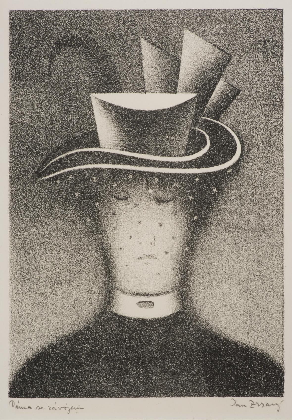 Jan Zrzavý / Dáma se závojem, mezzotinta, litografie, papír 1918, soukromá sbírka