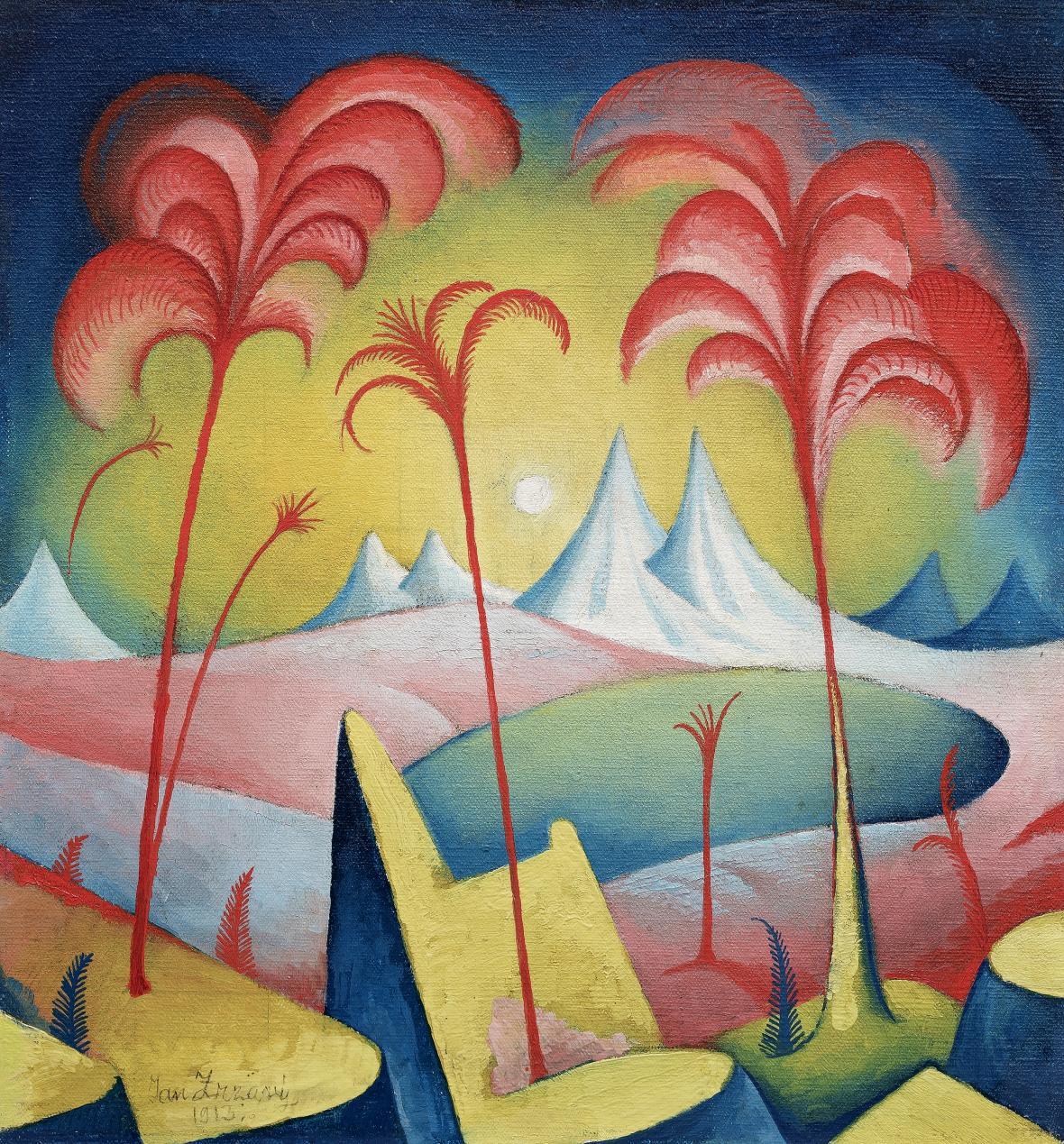 Jan Zrzavý / Fantastická krajina, 1913, olej na plátně, 48 x 63,5 cm, soukromá sbírka