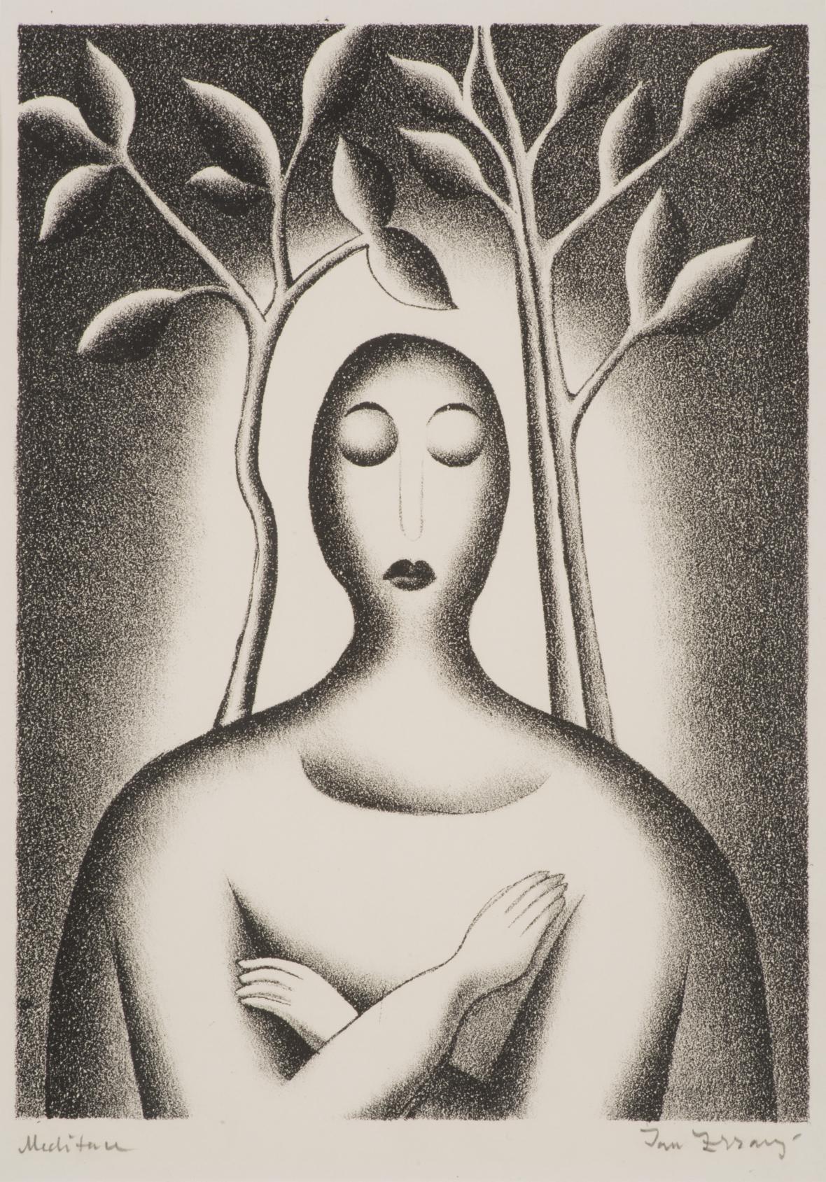 Jan Zrzavý / Melancholie, mezzotinta, litografie, papír 1918, soukromá sbírka