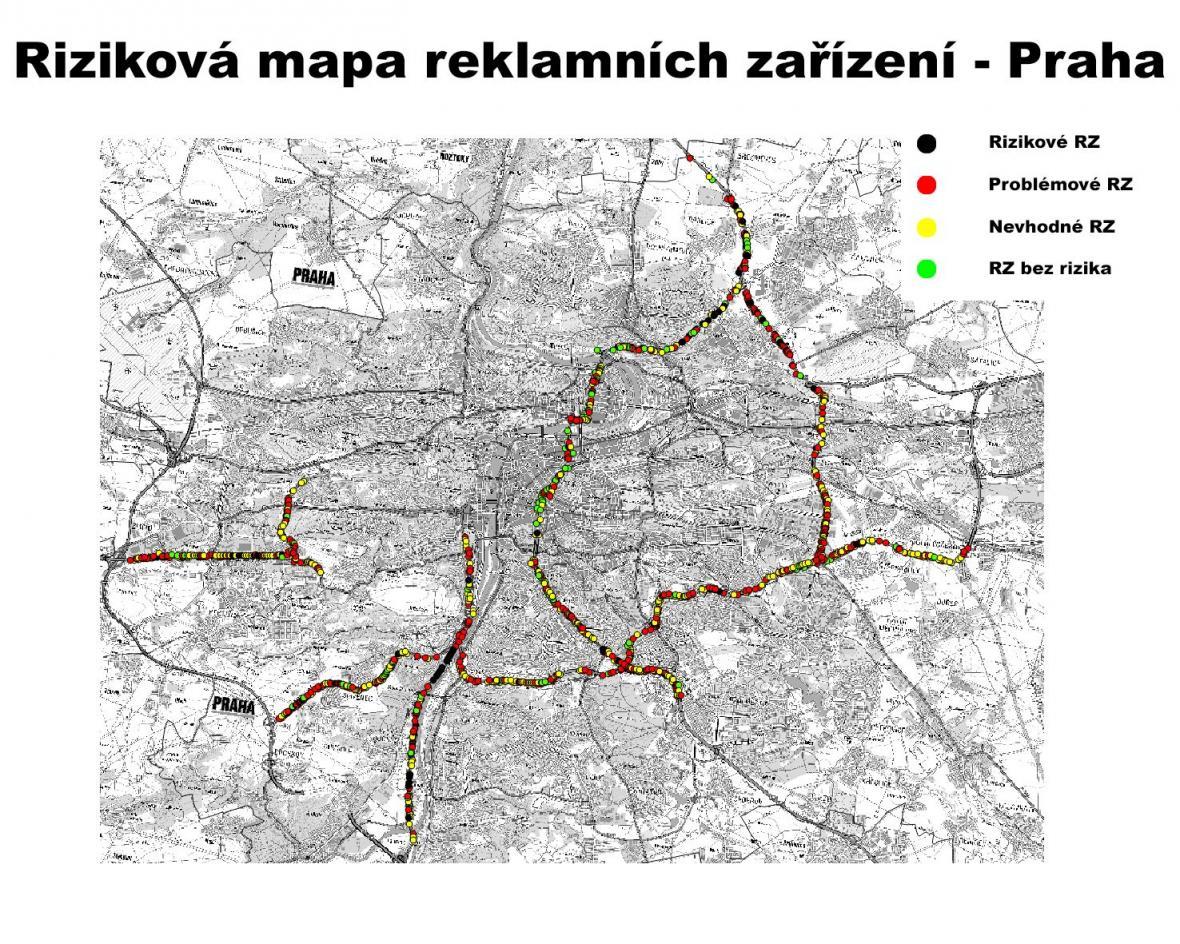 Riziková mapa billboardů v Praze