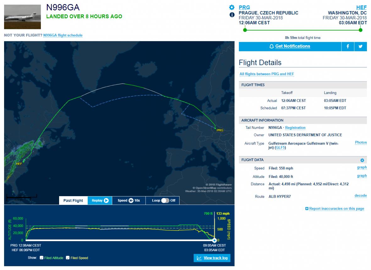 Let, kterým byl do USA zřejmě dopraven Jevgenij Nikulin