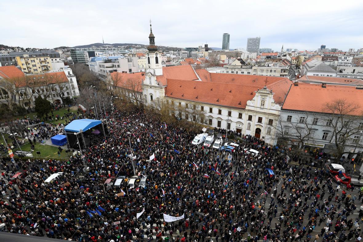 Demosntrace na náměstí SNP v Bratislavě