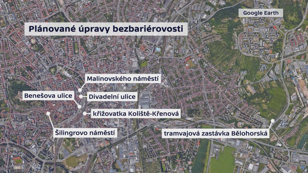 Plánované úpravy bezbariérovosti v Brně