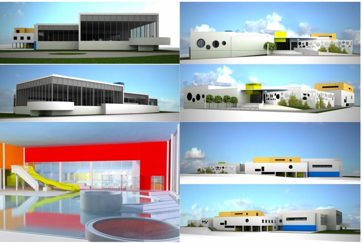 Vizualizace revitalizovaného bazénu s přístavbou
