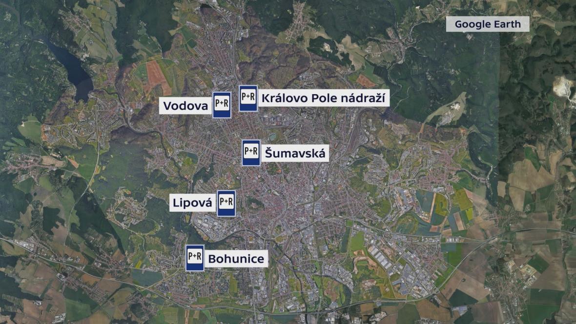 Plánovaná parkoviště P+R v Brně