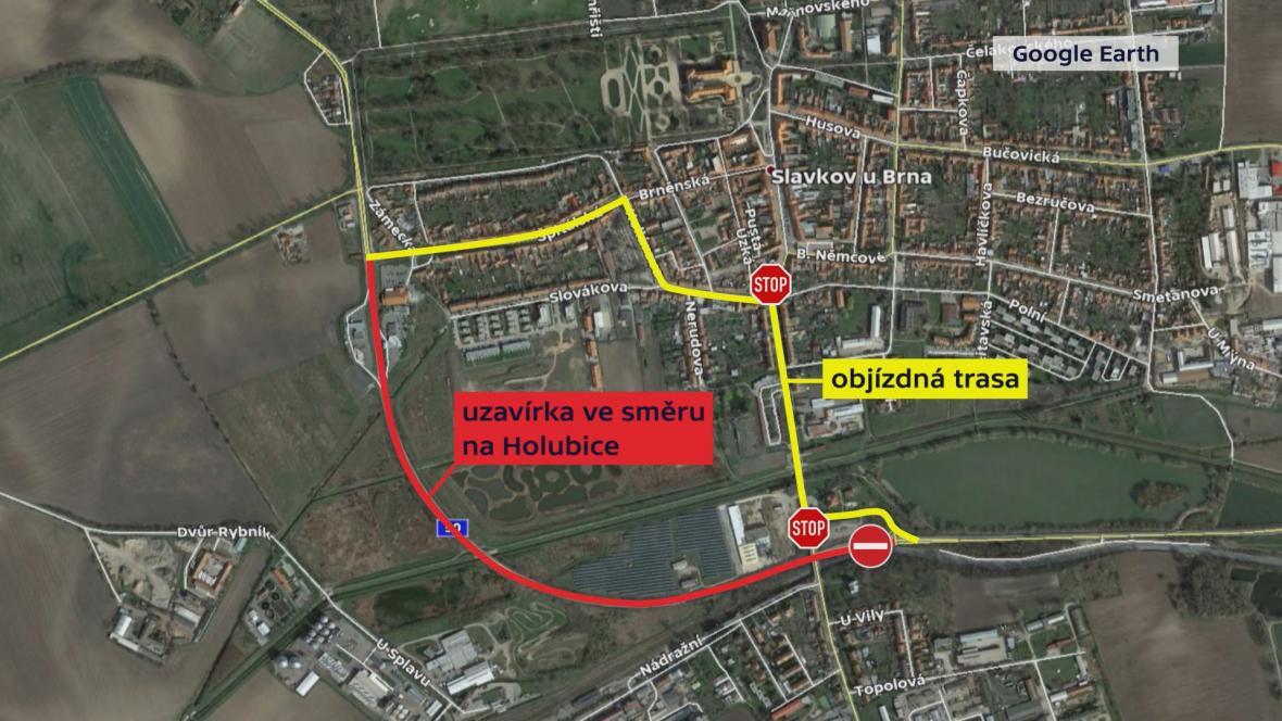 Mapa objízdné trasy Slavkovem