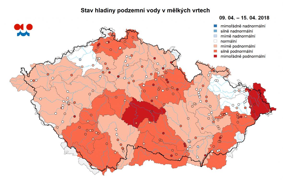 ČHMÚ: Stav hladiny podzemní vody v mělkých vrtech