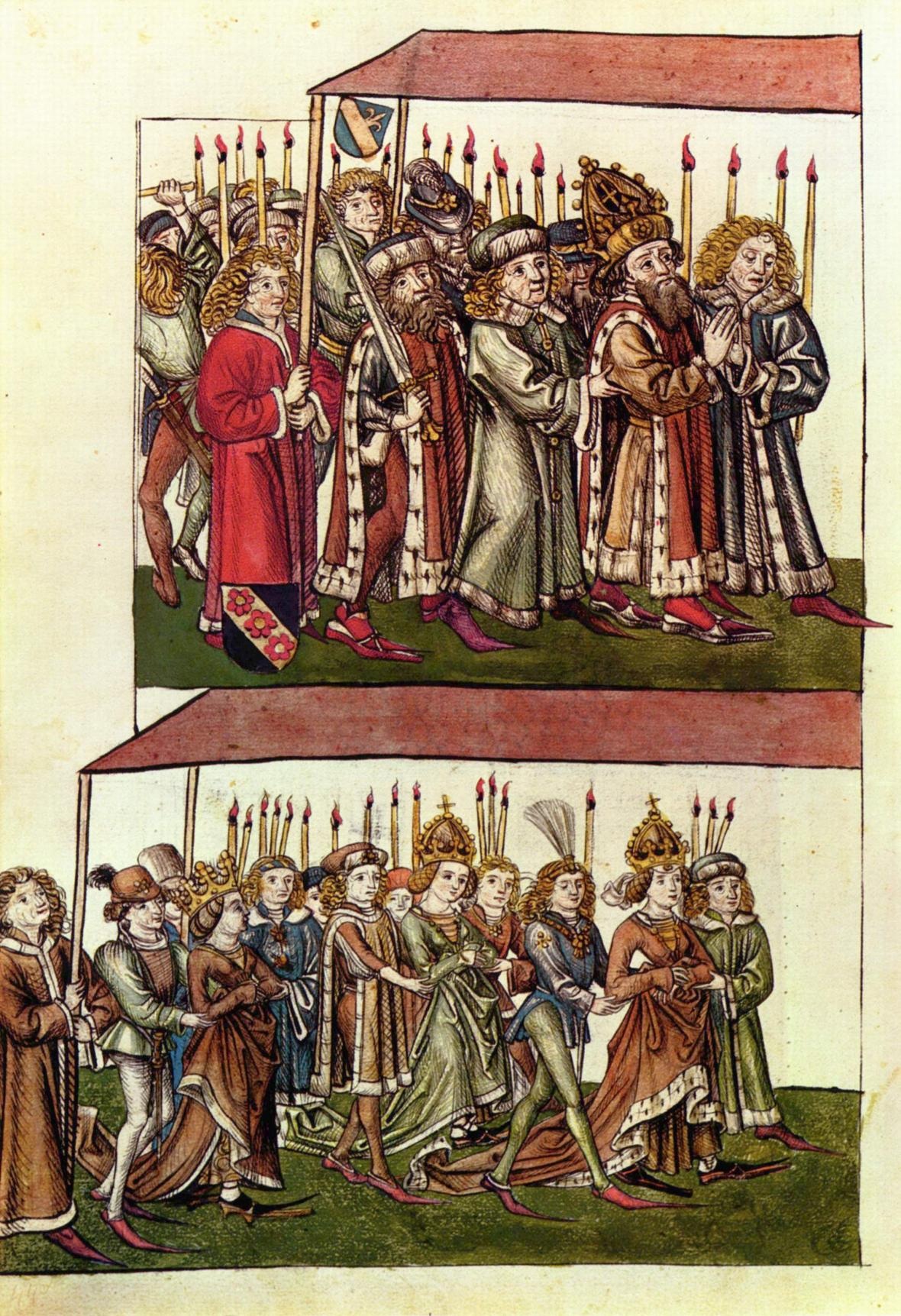 Císař Zikmund, jeho druhá manželka Barbora Celjská a jejich dcera Alžběta Lucemburská na Kostnickém koncilu