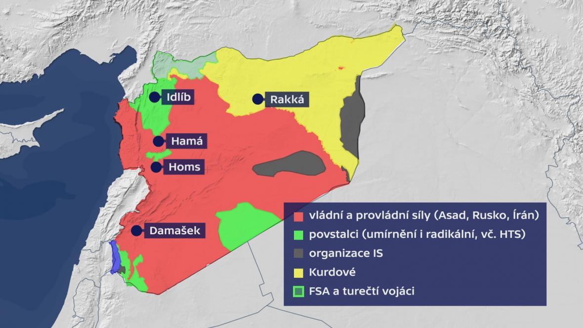Rozložení sil v Sýrii (duben 2018)