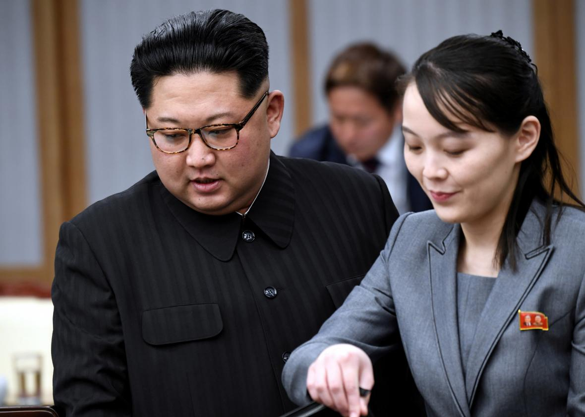 Kim Čong-un a jeho sestra Kim Jo-čong na mezikorejském summitu
