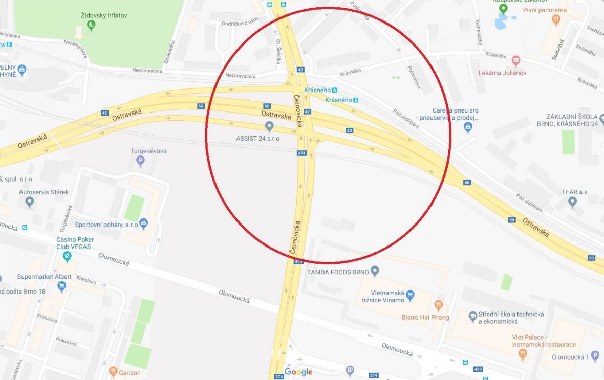 Uzavírka Černovické a Olomoucké ulice v Brně