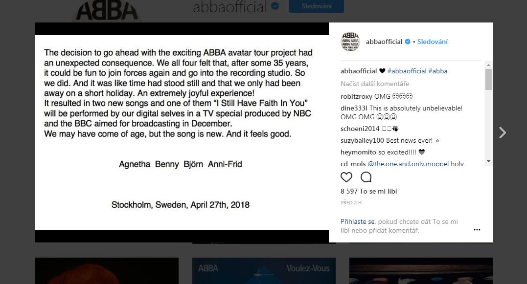 Oznámení kapely ABBA na Instagramu o nových písních